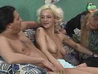 Friends share depraved blonde whore
