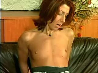 Redhead waitress get fucked on sofa