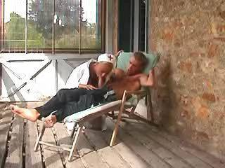 Horny blond nurse gets anal outdoor