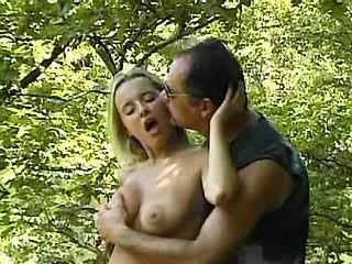 Busty girl get cummy tits in forest