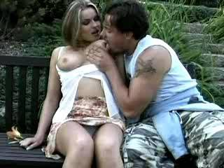 Big tits blond whore get deep fucked on bench in park