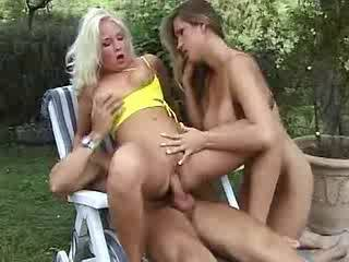 Horny cute girls and lewd guys in sex party in nature