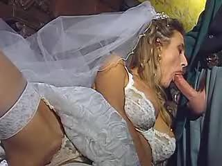 Horny blond bride catching cum in mouth after anal
