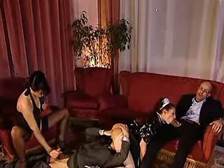 Two dudes having group fun with house maids in hotel