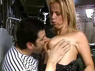 Mature blonde gangbanging with two lewd guys on ship