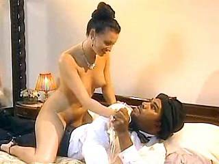Charming lady gets deep fucked by black dick and jizz