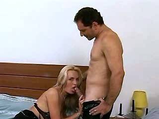 Mature blond slut sensual takes dick in mouth on bed