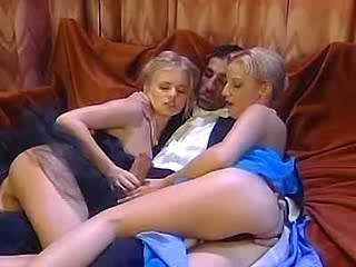 Two mature ladies deep fuck with lewd dude on wide bed