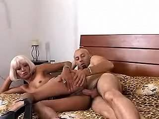 Exotic blond slut gets deep fucked by lewd dude on bed