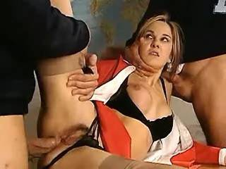 Sexy girl gets double penetration by lewd students