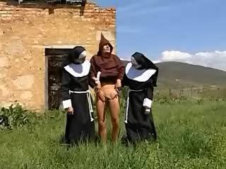 Vicious nuns greedily gobble every inch of a boner