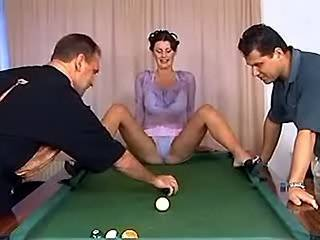 Lewd sexy slutty getting screwed in billiard orgy