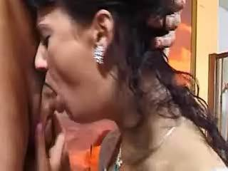 Sex-addicted brunette greedily eats cum of hot man