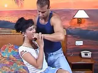 Imperturbable brunette lets lewd hunk fuck her ass