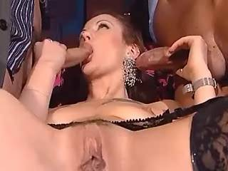 Two cheeky men sucked by cockloving redhead beauty