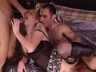 Cute redhead girl in stockings fucked by lewd guys
