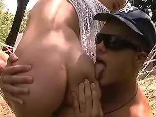 Perky hunk fucking horny girlfriend in ass outdoor