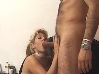 Hot blonde in leather boots does perfect BJ to guy