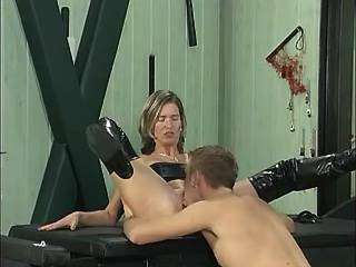 Mature lady in bright boots gets creampie from boy