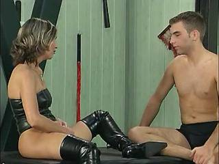 Mature vixen in bright boots fucking w young bloke