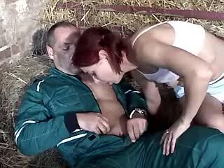 Young beauty gets facial after blowjob in stabling