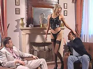 Hot oversexed blonde fucking with two guys in orgy