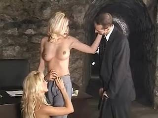 Bloke fucking with two horny blond girls in prison