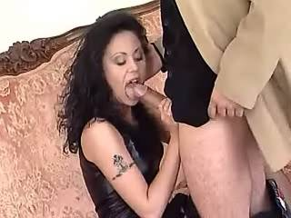 Spoiled brunette gets facial after blowjob on sofa