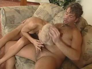 Depraved blonde fucking with skillful chap on sofa