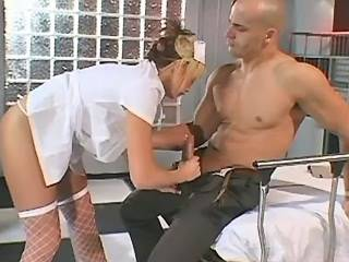 Cockloving blond nurse fucked by hot guy in clinic